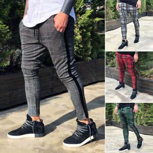 Men-039-s-Slim-Fit-Skinny-Pencil-Pants-Plaid-Business-Formal-Dress-Casual-Trousers