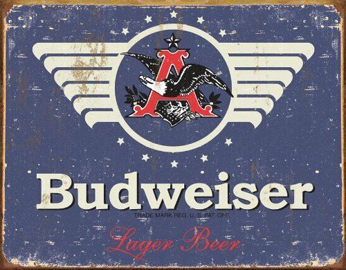 1936 Budweiser Lager Beer Vintage Rustic Retro Tin Metal Sign 16 x 13in