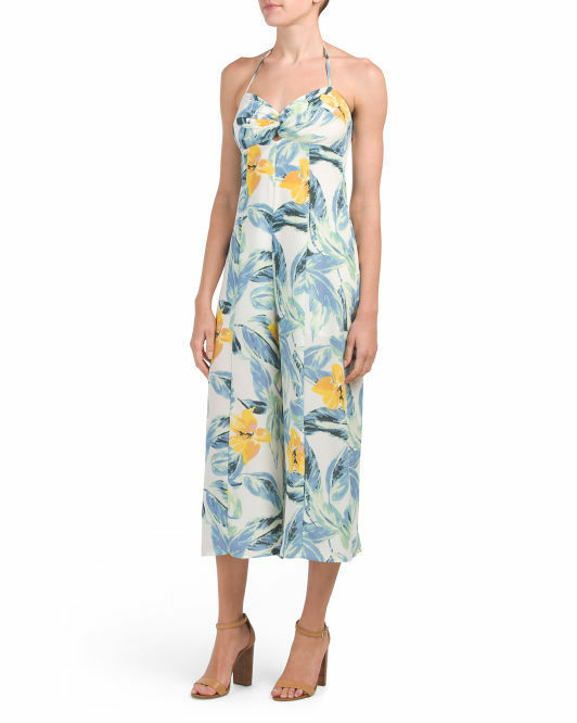 JUNE & HUDSON  Palm Print Jumpsuit Sz S NWT