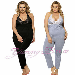 e77325d02cd9 Yummy Bee Pyjamas Womens Plus Size 8-24 PJs Sexy Loungewear Stretch ...
