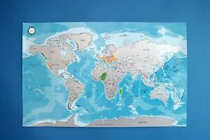 Scratch off world map ocean blue worldmap silver layer travel image is loading scratch off world map ocean blue worldmap silver gumiabroncs