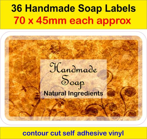 No1 Handmade Soap Making Labels x36 adhesive vinyl Stickers Natural ingredients