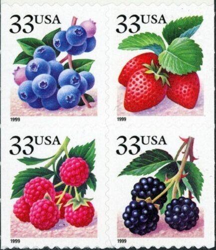 1999 33c Fruit Berries, Block of 4 Scott 3298-3301 Mint
