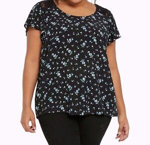 57b912f8d7b Torrid Floral Print Lace Inset Flutter Sleeves Top Black 1X 14 16 1 ...