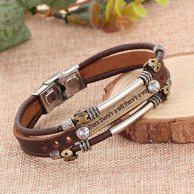 Fashion Vintage Men's Crystal Metal Steel Studded Leather Bangle Cuff Bracelet