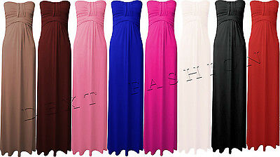 LADIES WOMEN STRAPLESS KNOTTED BOOBTUBE BANDEAU BOW JERSY MAXI PARTY DRESS 8- 26