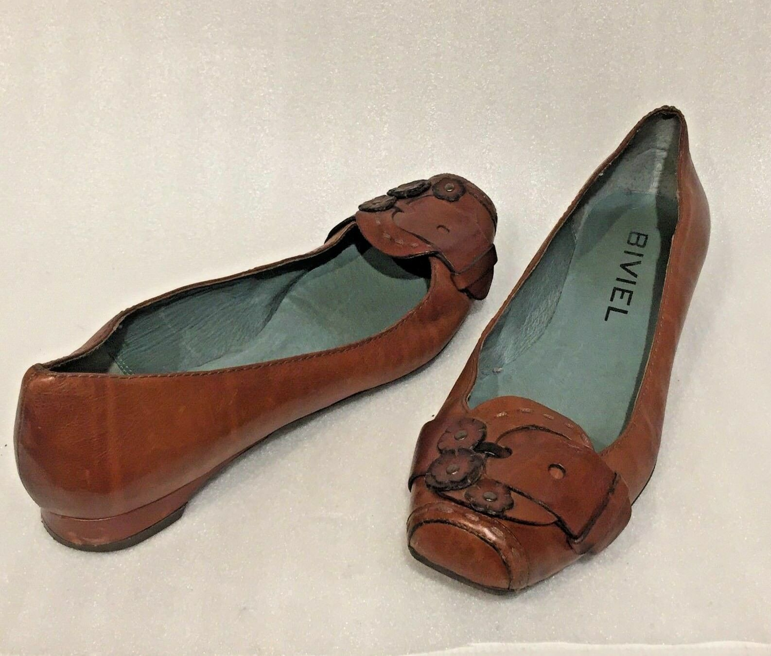 Women's BIVIEL BROWN Leather Flats Buckle Flower Trim  Size 40 EU   9 US