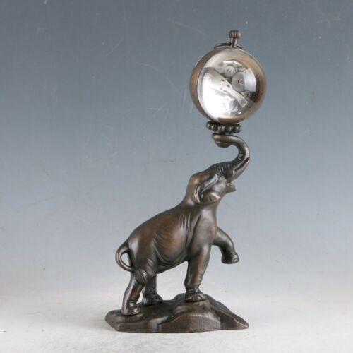 Antiques European Exquisite Brass Classical Mechanical Elephant Clock