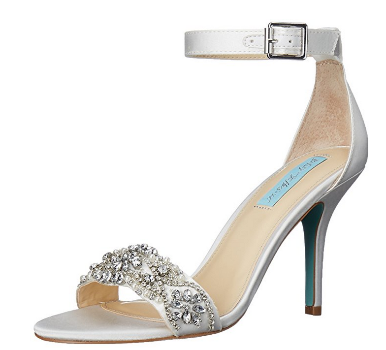 NIB Blau by Betsey Betsey Betsey Johnson Gina Rhinsetone Evening Sandals in Ivory Satin f1bce4