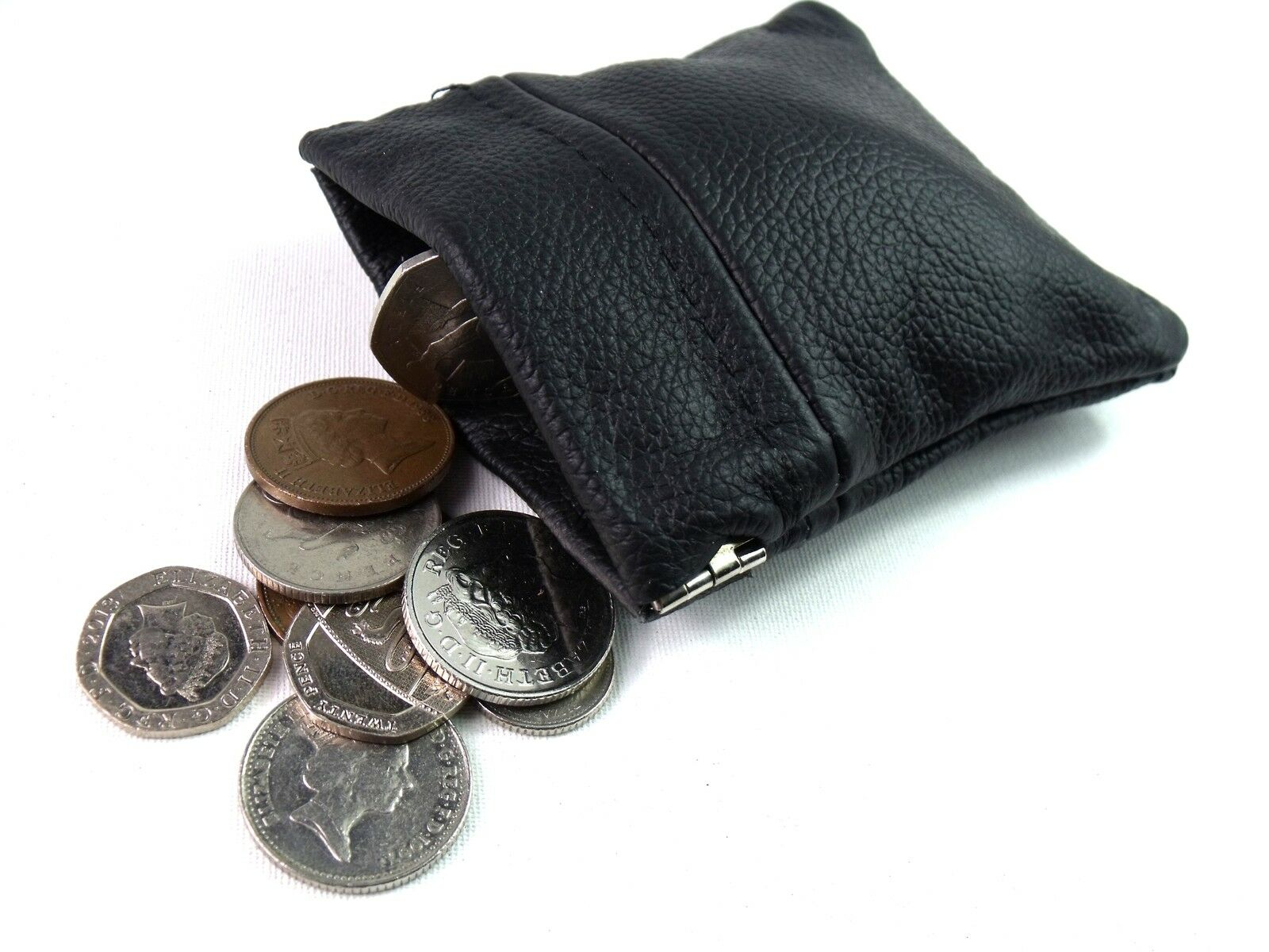 Unisex New Genuine Black Leather Coin Pouch Purse Wallet Snap Top Card Holder