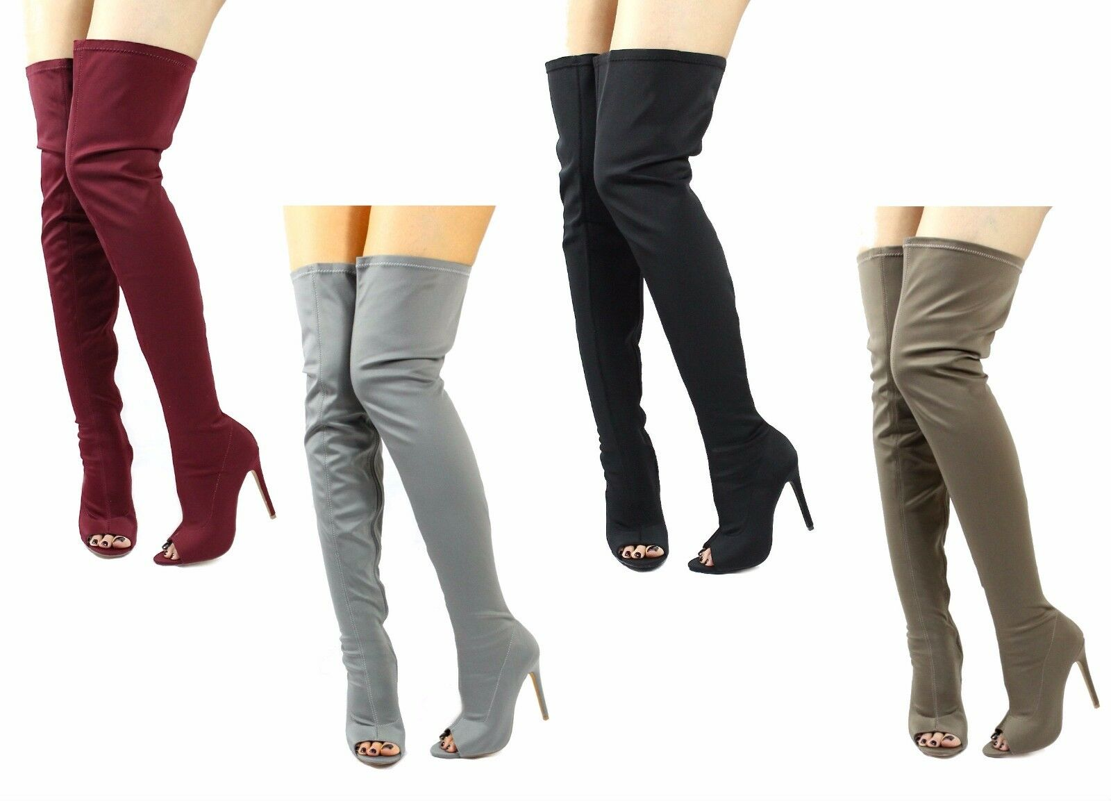 Liliana Connely-8 Lycra Over the Knee Thigh High Open Toe Stiletto Heels Boots