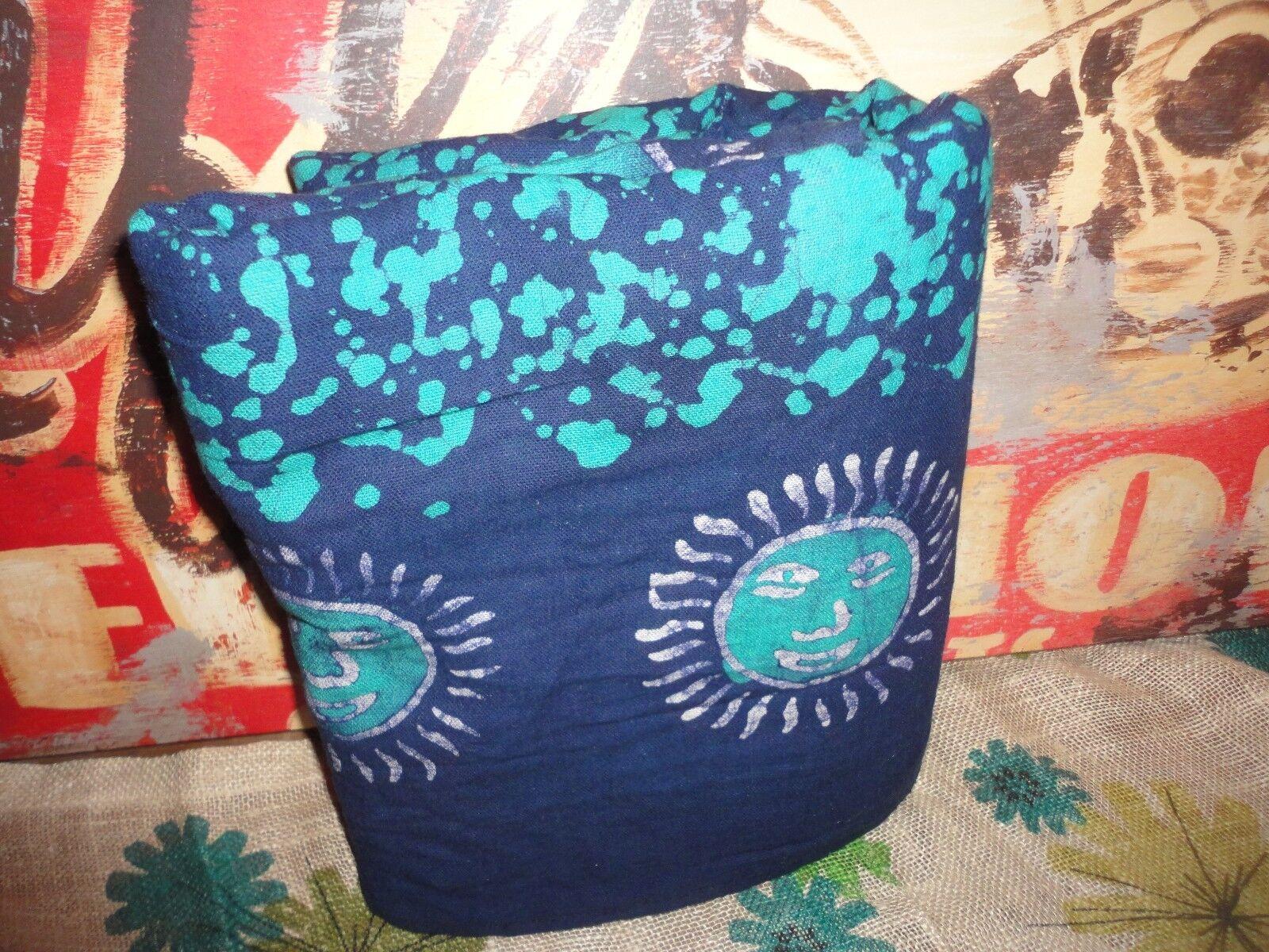 INDIA ART CULTURAL BOHO MAGENTA SUN Blau TEAL FULL FLAT SHEET BED COVER 82 X 100