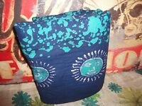India Art Cultural Boho Magenta Sun Blue Teal Full Flat Sheet Bed Cover 82 X 100
