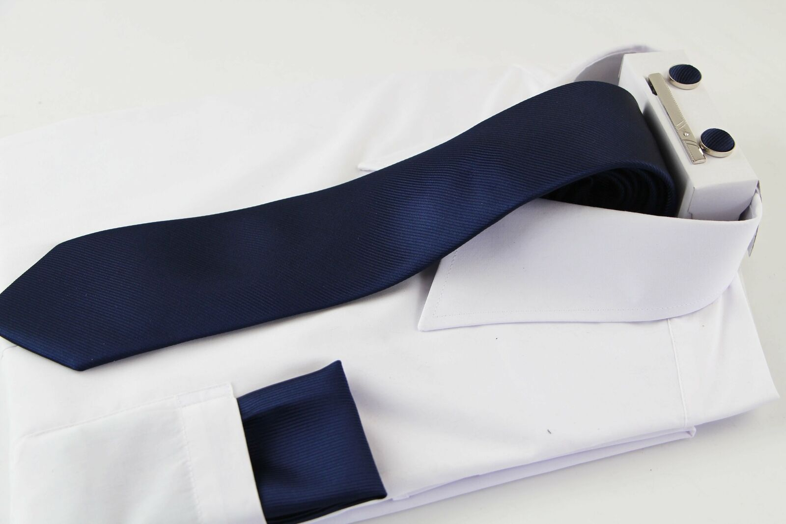 Mens Navy Plain Striped Matching Neck Tie, Pocket Square, Cuff Links And Tie
