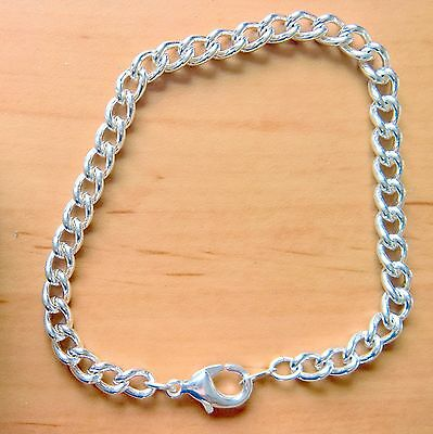 2 x Silver Plated Link Chain Charm Bracelet With Lobster Claw Clasp 18cm Q108