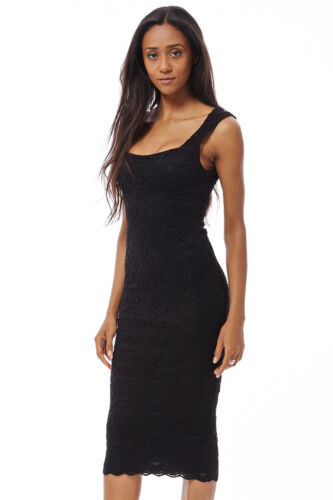 LADIES WOMENS MIDI BODYCON DRESS LACEY OPEN BACK CHRISTMAS  PARTY FORMAL   C3