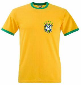 Le-Bresil-retro-football-Ringer-T-Shirt-Bresilien-de-FOOTBALL-CONFEDERATION-Tee-Top
