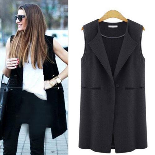 Womens Sleeveless Vest Trench Coat Long Blazer Jacket Waistcoat Cardigan Outwear