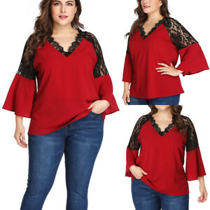 Plus-Size-Women-Lace-Crochet-V-Neck-Bell-Sleeve-Casual-Loose-T-Shirt-Blouse-Tops