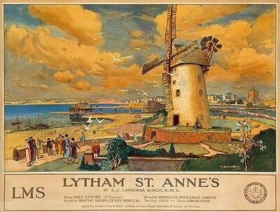 TX342 Vintage LYTHAM ST ANNES LMS Railway British Travel Poster RePrint A2/A3/A4