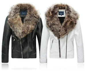 Men&amp039s High Quality Faux Leather Fur Collar Casual Short