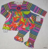 6-12 12 Boutique Mis Tee V-us Groovy Abstract Top & Stripe Leggings 2pc Set
