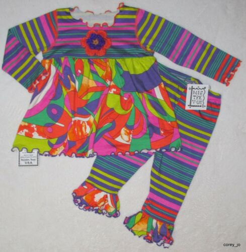 NWT 6-12 12 Boutique MIS TEE V-US Groovy Abstract Top /& Stripe Leggings 2pc SET