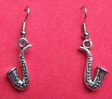 SAXOPHONE  EARRINGS  TIBET SILVER, EAR WIRE STAINLESS STEEL