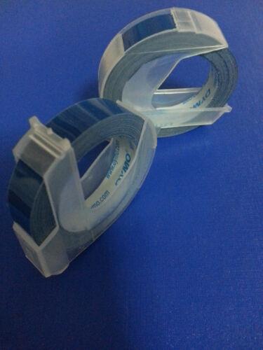 10 Rollos X Dymo 3d De Grabado De Cinta Etiquetas 9mm X 3m En Azul gran Ventas Envío Gratuito