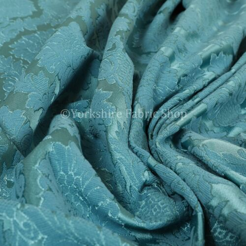 Raised Damask Floral Teal Colour Chenille Upholstery Curtain Furnishing Fabrics