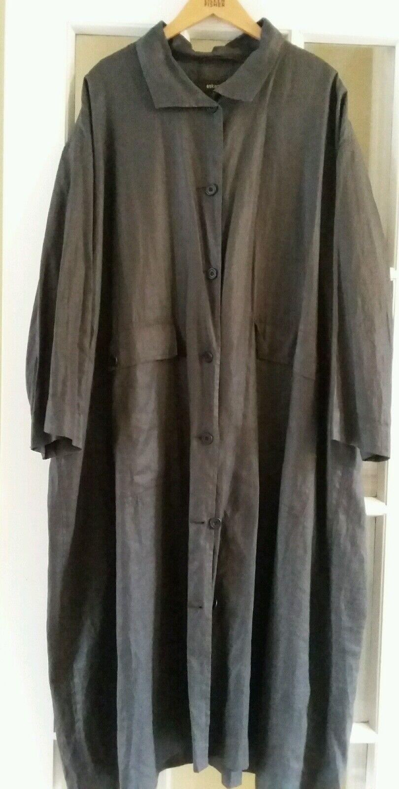 Eskandar Duster coat linen  Bronze  Size 1 Womens