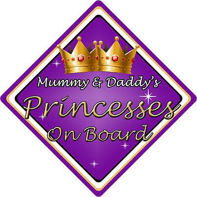 No Personalizado De Niño//Bebé A Bordo Coche Firmar ~ Momia /& Papi está Rosa Princesa ~