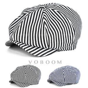 Casquette-de-Gavroche-a-rayures-en-coton-pour-hommes-chapeau-de-lierre-beret