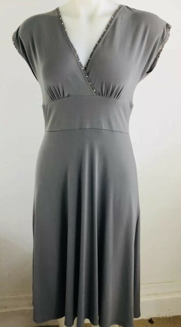 6432c739262 Women s Dress BCBG Paris V Neck Cross Over SS Cap Gray Green Sz S Crochet  Sequin