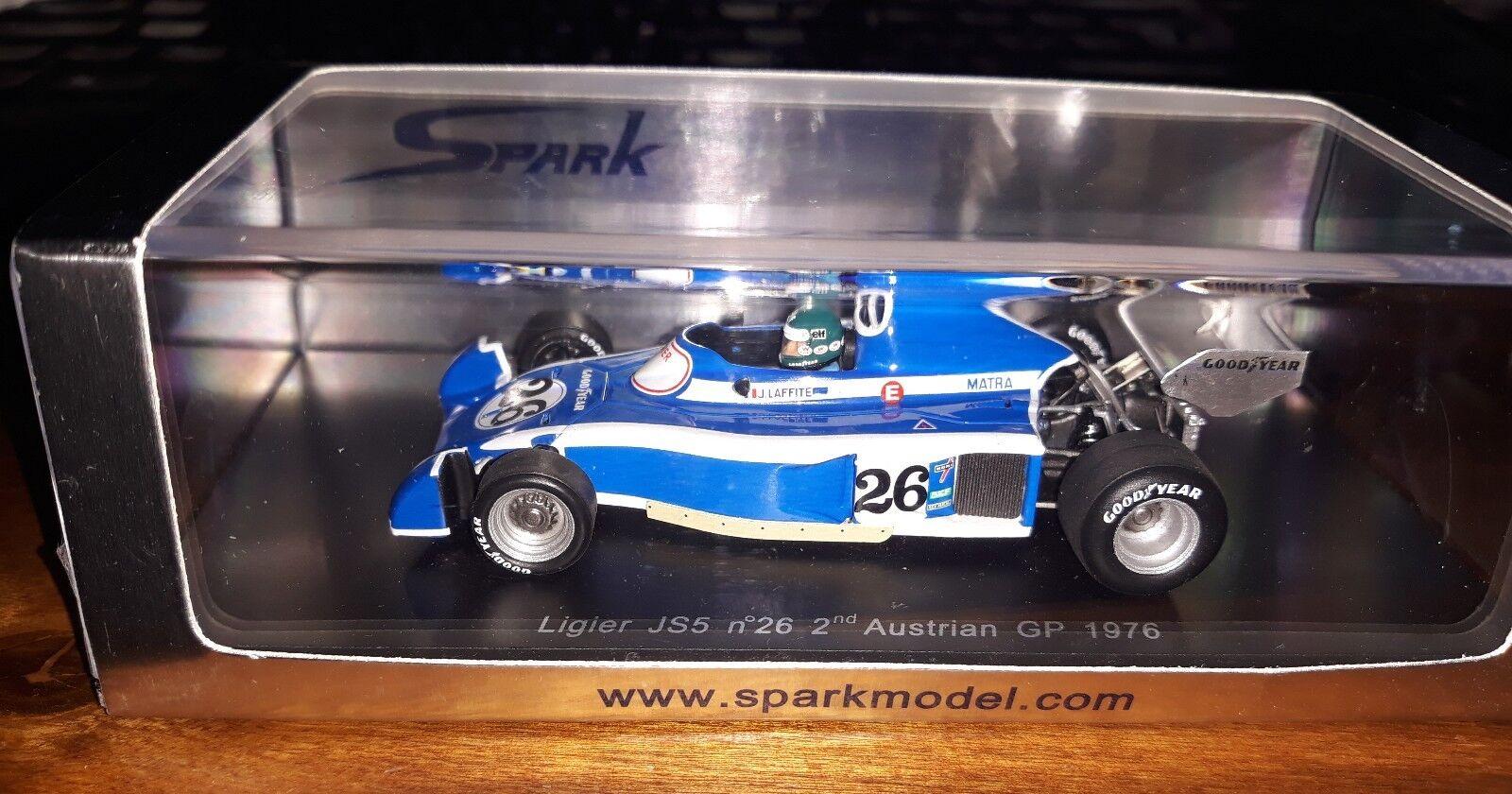 Spark 1 43 Ligier JS5  26 2nd Austrian GP 1976 Jacques Lafitte S1633