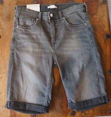 **short, Pantacourt En Jeans Vintage Noir DÉlavÉ H&m** Neuf..