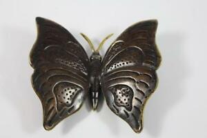 Skulptur-Figur-Bronze-teilpoliert-Schmetterling