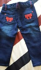 Girls Soft Blue Jeans Red Sequin Bows  by Minoti 1-1.5 yrs 80cm-86cm Brand New