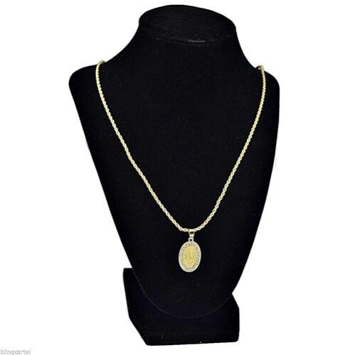 """Virgin Mary La Virgen De Guadalupe Micro Oval Pendant Gold Tone 24/"""" Rope Chain"""