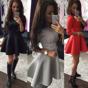 Women-Solid-Crewneck-3-4-Sleeve-Skirt-Dress-Ladies-Evening-Party-Mini-Dress