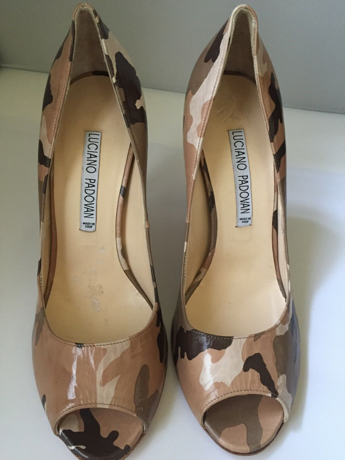 Luciano Padovan Brown Fatigue Print shoes Open Toe 7 7 7 1 2 d67392