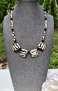 Vintage African Tribal Carved Batik Bone Bead Brown Cream Onyx Beads Necklace Ebay