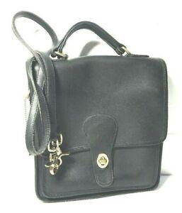 Vintage-Coach-Station-Black-Leather-Messenger-Cross-body-Bag-Purse-Satchel-brass