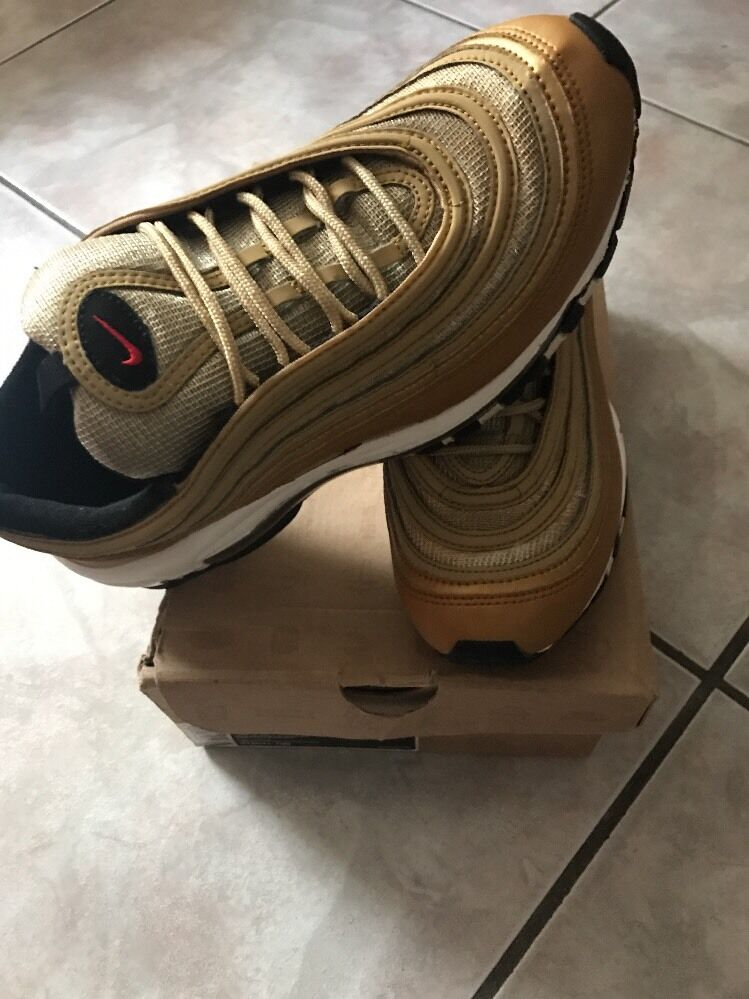 NIKE AIR AIR NIKE MAX 97 METALLIC GOLD-RED-BLACK SZ 8.5