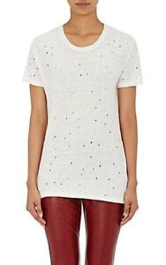 NWT-IRO-White-039-Clay-039-Punctured-Linen-Tee-Ecru-Ivory-L