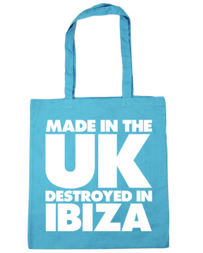 Made in the UK Destroyed in Ibiza Tote Shopping Gym Beach Bag 42cm x38cm 10 lit