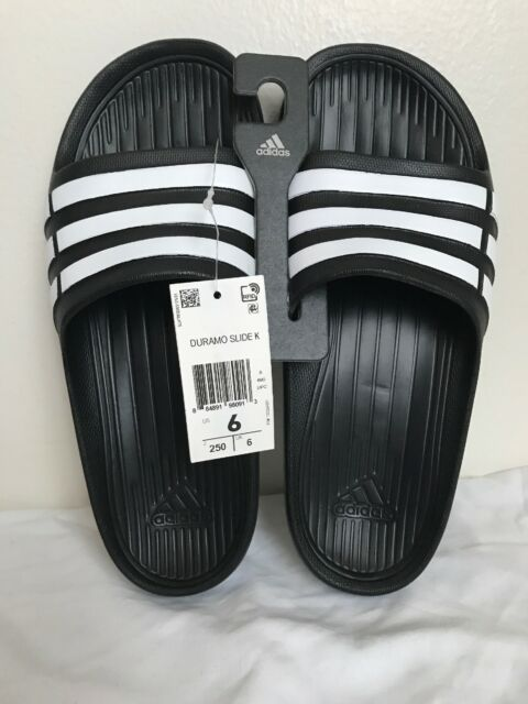 detailed look 7f8e5 7a902 adidas Duramo Slide K Black White Youth Girls Womens Slippers Sandals  G06799 6