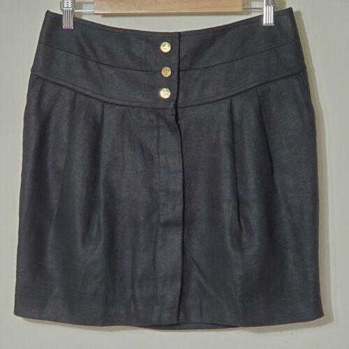 Tory Burch Sz 4 Schafer Skirt Black Linen Gold But