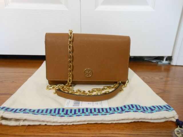 a1f044529ee5 Tory Burch Robinson Cosmo Pink Saffiano Chain Wallet Crossbody Bag ...