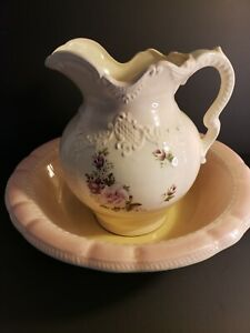 VTG-Arnel-039-s-Ceramic-Pink-Floral-Pitcher-and-Basin-Roses-Shabby-Chic-Farmhouse